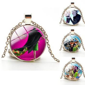 Hotel Transylvania 3: Monsters Overboard Lovely Glass Cabochon Necklace children's gift bronze /silver color  christmas gift