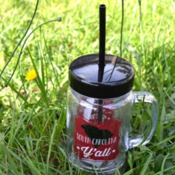 South Carolina Y'all Mason Jar Tumbler~ Add monogram ~ Plastic ~ Garnet and Black
