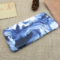 Blue Stone Marble iPhone 7 5S SE 6 6S Plus Case Cover + Free Gift Box