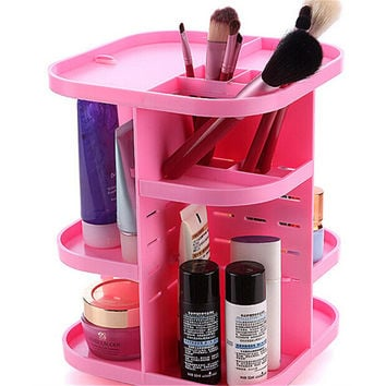 360 Rotating Height Adjustable Cosmetic Stand Makeup Organizer Arcrylic