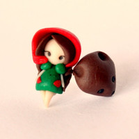 Little Red Riding Hood , stud button earring
