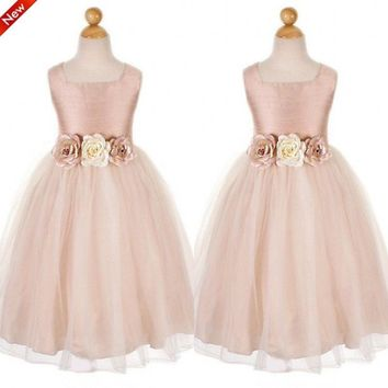 Hand Made Flower Girls Dress Scoop Ball GownTea Length Organza Flower Girls Dresses Little Girl Party Gowns Custom Made