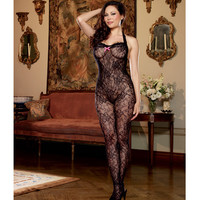 Floral Stretch Lace Open Crotch Halter Bodystocking W-low V-back & Back Seam To Thigh Black Qn