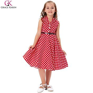 Flower Girl Dresses Summer Children Kids Girls Retro Vintage Sleeveless Lapel Collar Polka Dots Wedding Party Dress 6-11Years