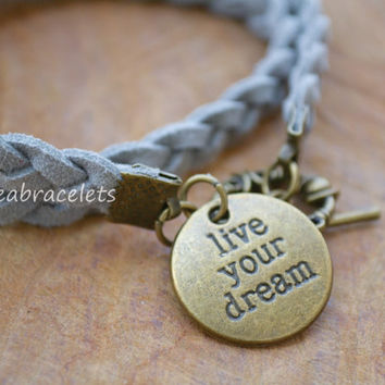 Gift Idea Double Wrap Bracelet Friendship Quote Motivation Inspired Charm Unisex Brass Live Your Dream Christmas Gift Gray