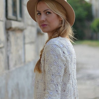 Hollow Out Crochet Lace Half Sleeve Cardigan
