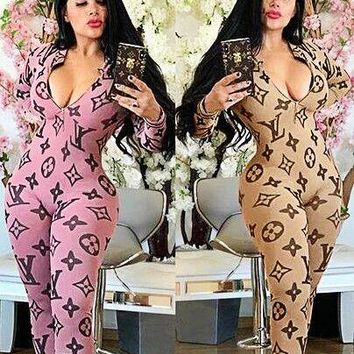 LV Louis Vuitton Newest Hot Sale Women Sexy Print Long Sleeve Jumpsuit