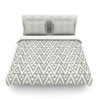"Amanda Lane ""Geo Tribal Gray"" Grey Tribal Cotton Duvet Cover"