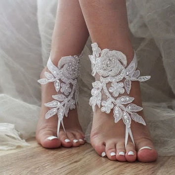 Ivory or white lace wedding barefoot sandals french lace sandals, wedding anklet, Beach wedding barefoot sandals,