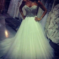 Cheap Strapless Sequin Tulle Wedding Dress, Wedding Party Dress,Strapless Prom Dress,Bridal Dress