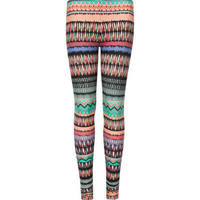 Full Tilt Watercolor Girls Leggings Multi  In Sizes