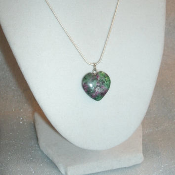 Ruby in Zoisite Gemstone Necklace,   heart shape, healing, metaphysical, crown chakra, fertility stone, energy, happy, psychic,