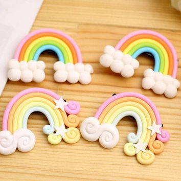 Ruiyi 2017 New Fashion Polymer Clay Stereo Cartoon Rainbow Hairpins for Baby Girls Hair Clips for Kids Children Hair Accessories