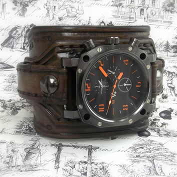 Leather Cuff Watch, Wrist Watch, Men's watch, Bracelet Watch, Watch Cuff, Chocolate Brown