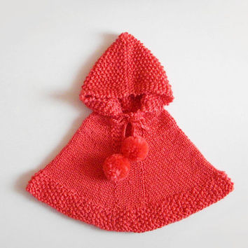 Knitting Pattern For Baby Capelet : Red Hooded Poncho / Alpaca Baby Sweater / from KnittName on Etsy