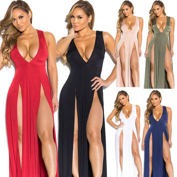 Summer New Fashion Women's Novelty Jersey Night Club Craving Maxi Long Dance Dress