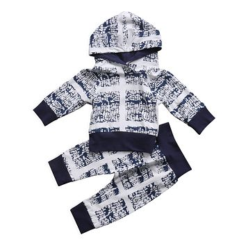 0-24M Autumn baby clothes set Newborn Baby Kids Boys Clothes Hooded Tops+Long Pants Outfits Set  2pcs kid baby boy clothing
