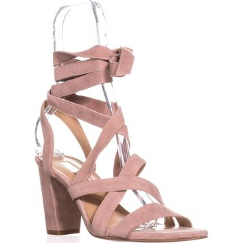 I35 Kailey Lace-Up Block-Heel Sandals, Blush, 7.5 US