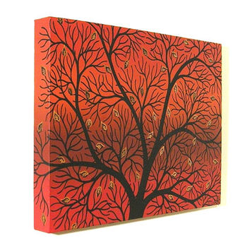Silhouetted Autumn Tree acrylic painting