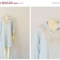 SALE Vintage Nightgown 50s 60s Mad Men Saramal  Blue & Beige Lace Nightshirt Deadstock NWT Sz Medium Modern Small - Medium