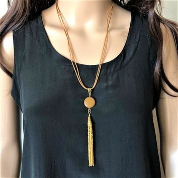 Brown Jasper and Leather Long Tassel Necklace