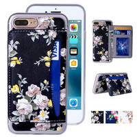 iPhone 7 Plus Case, iPhone 7 Plus Wallet Case, Premium PU Leather Flower Floral