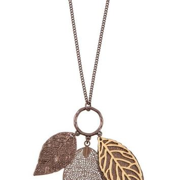 Ladies fashion elongated leaf pendant necklace