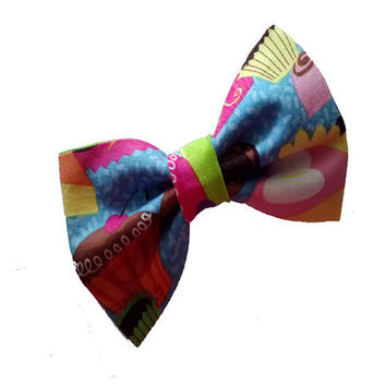 Cupcake girls hair bow - toddler fabric bows - photo prop - small hair bow - back to school accessories - sweet tooth fabric