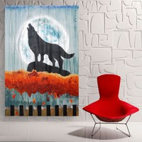 View: Large acrylic painting 110x160 cm unstretched canvas Howling wolf in the rainy night by artist Ksavera | Artfinder