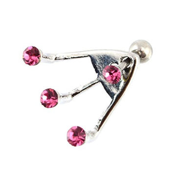 16G 1/4 Inch 316L Surgical Steel Trident Triple Pink Round CZ Cartilage And Lobe Earring 459
