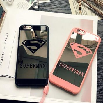 Super Cool Superman & Superwoman Mirror Iphone Protective Case + Nice Gift Box