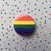 "Gay Pride Rainbow 1.25"" Pinback Button- Handmade"