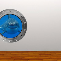 Full Colour Wall Decal Shark Sea Silver Porthole Wall Sticker Ocean