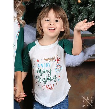 Southern Grace 2017 Christmas Girls A Very Merry Christmas Y'all Raglan With Forest Green Sleeves