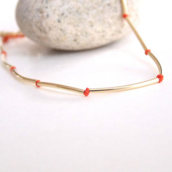 VALENTINE'S DAY, Hand Knotted Bracelet, Gold Tube Bead Silk Cord Thread, Red Jewelry