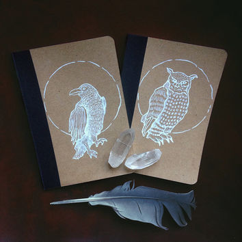 bird notebooks // notebook set of two - raven & owl notebook - witch journal - art notebook - pocket notebook set - spirit animal - pagan