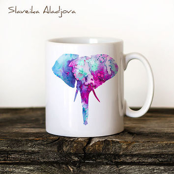 Elephant 2 Mug Watercolor Ceramic Mug Unique Gift Bird Coffee Mug Animal Mug Tea Cup Art Illustration Cool Kitchen Art Printed