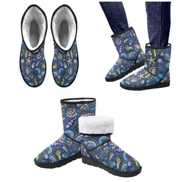 sea life beautiful Underwater World Custom High Top Unisex Snow Boots (Model 047)