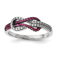 Sterling Silver Pink & White CZ Brilliant Embers Love Knot Ring