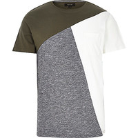 River Island MensKhaki color block t-shirt