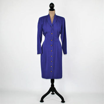 80s 90s Long Sleeve Purple Dress Women Large Petite Button Up Midi Dress Fitted Waist Dress Vintage Clothing Womens Clothing