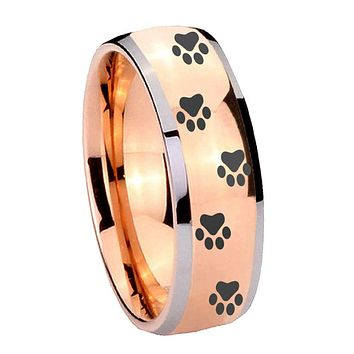 8MM Rose Gold Dome Paw Print Design 2 Tone Tungsten Carbide Laser Engraved Ring