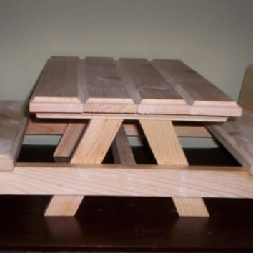 picnic table and two benches Handcrafted for American Girl 18 inch doll furniture unfinished