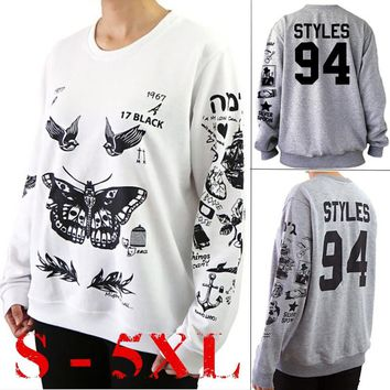 Unisex Harry Style Tattoo Sweatshirt, Men Women Fashion Autumn Long Sleeve Shirt Tops