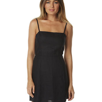 ZULU AND ZEPHYR SHADE WOMENS LINEN DRESS - BLACK