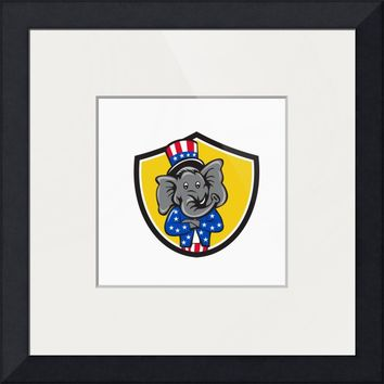 """Republican Elephant Mascot Arms Crossed Shield Car"" by Aloysius Patrimonio"