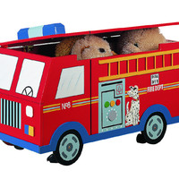 Teamson Kids - Trains & Trucks Fire Engine Toy Box-W-4007A