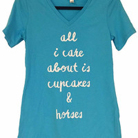 Cupcakes and Horses Tee - Turquoise