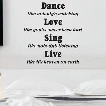 Dance Like nobody's watching  Quote Decal Sticker Wall
