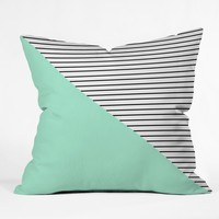 Allyson Johnson Mint and stripes Throw Pillow